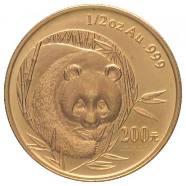 China Panda 2003, Goldmünze 1/2 Unze (oz) in Kapsel