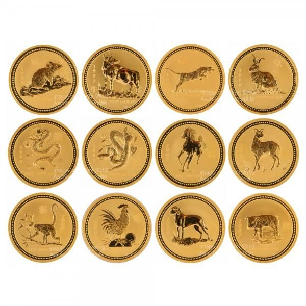 Ankauf: Lunar I Goldmünzen 12 x 1 Unze (oz) Komplett-Set