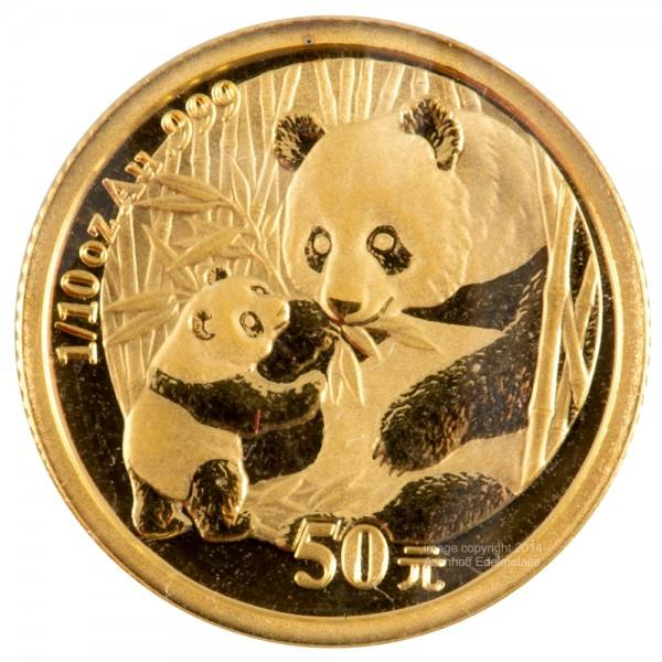China Panda 2005, Goldmünze 1/10 Unze (oz) Original-Folie