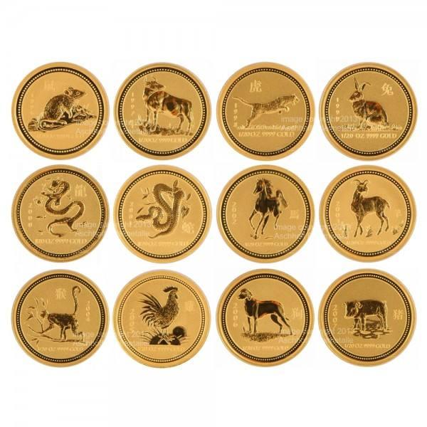 Lunar I Goldmünzen 12 x 1/20 Unze (oz) Komplett-Set