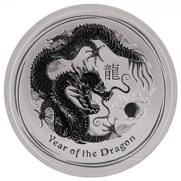 Lunar II 2012 Drache, Silbermünze 5 Unzen (oz)