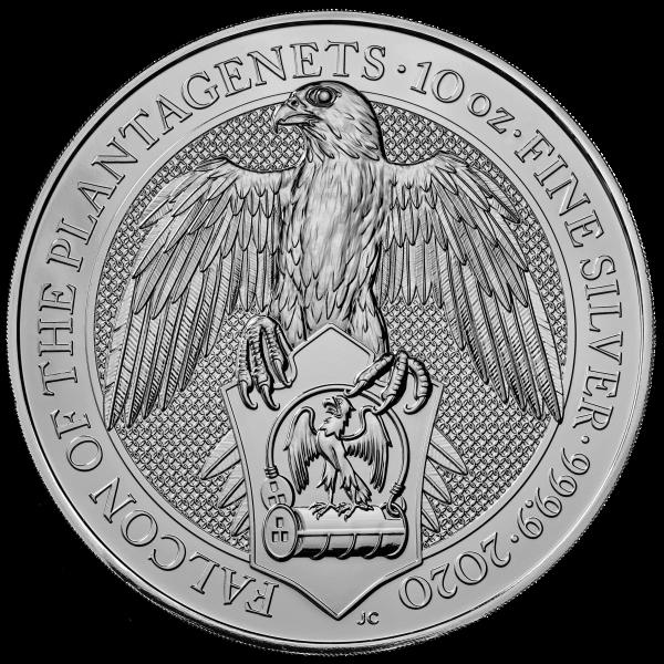 Ankauf: The Queens Beasts Falcon 2020, Silbermünze 10 Unzen (oz)