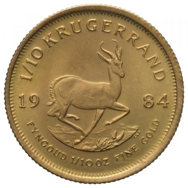 Ankauf: Krügerrand, Goldmünze 1/10 Unze (oz), diverse Jahrgänge
