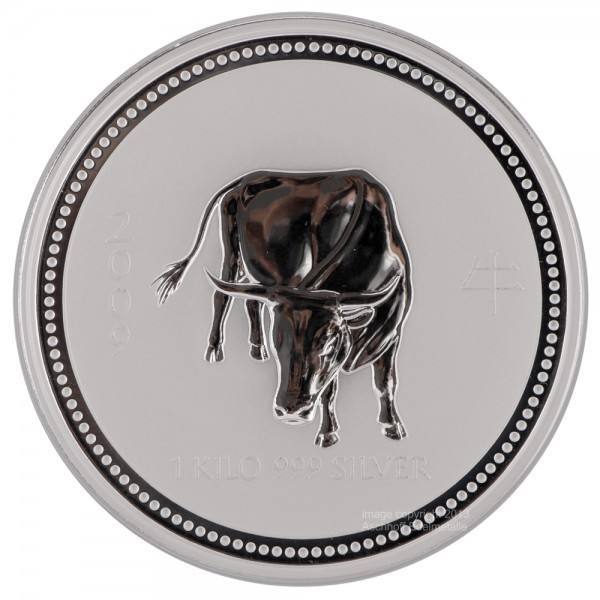 Ankauf: Lunar I 2009 Ochse, Silbermünze 1 kg