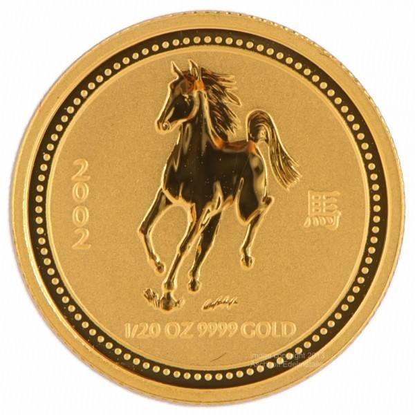 Ankauf: Lunar I 2002 Pferd, Goldmünze 1/20 Unze (oz)