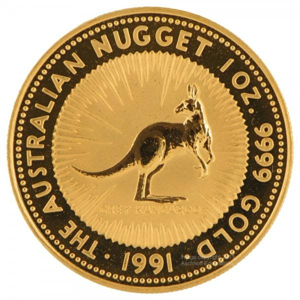 Ankauf: Australian Nugget (Kangaroo) 1991, Goldmünze 1 Unze (oz)