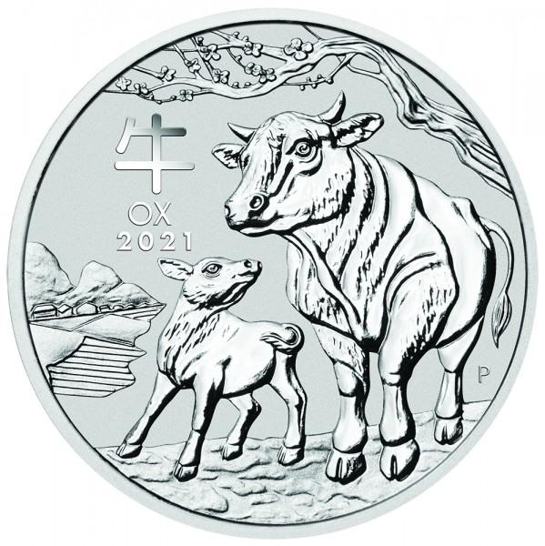 Lunar III 2021 Ochse, Silbermünze 2 Unzen (oz)
