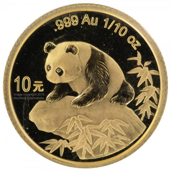 Ankauf: China Panda 1999, Goldmünze 1/10 Unze (oz)