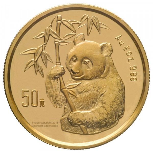 China Panda 1995, Goldmünze 1/2 Unze (oz) Original-Folie mit Kontrollzettel
