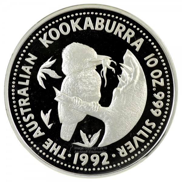 Australian Kookaburra 1992, Silbermünze 10 Unzen (oz) PP