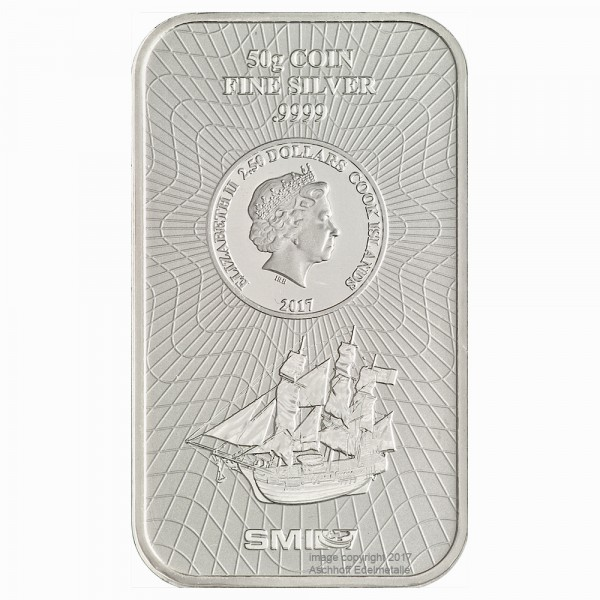 Cook Islands Münzbarren, Silber 50g, Neuware mit Zertifikat