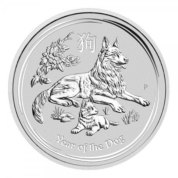 Ankauf: Lunar II 2018 Hund, Silbermünze 5 Unzen (oz)