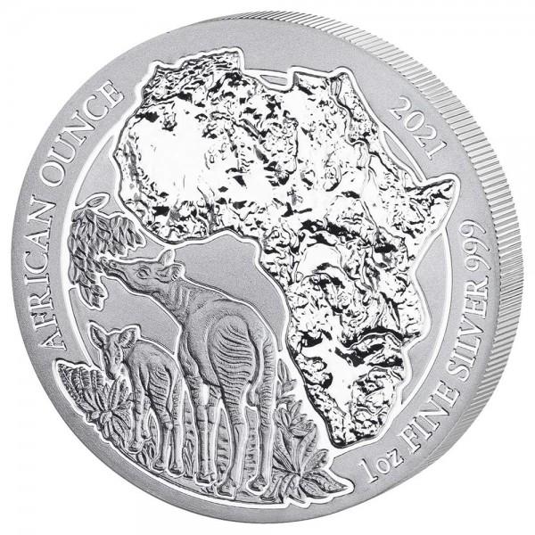 Ruanda African Ounce 2021 Okapi, Silbermünze 1 Unze (oz)