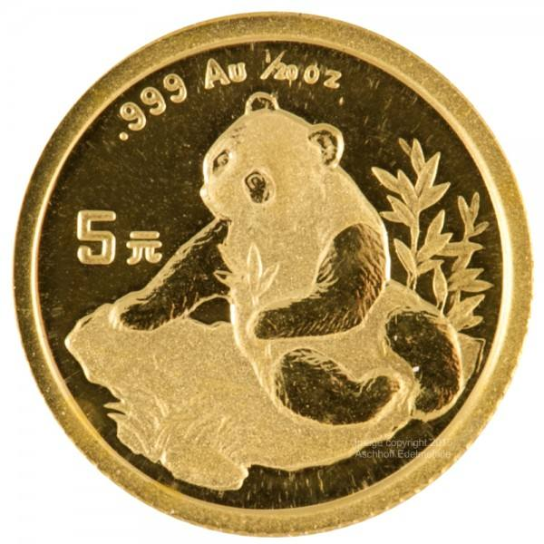 Ankauf: China Panda 1998, Goldmünze 1/20 Unze (oz)