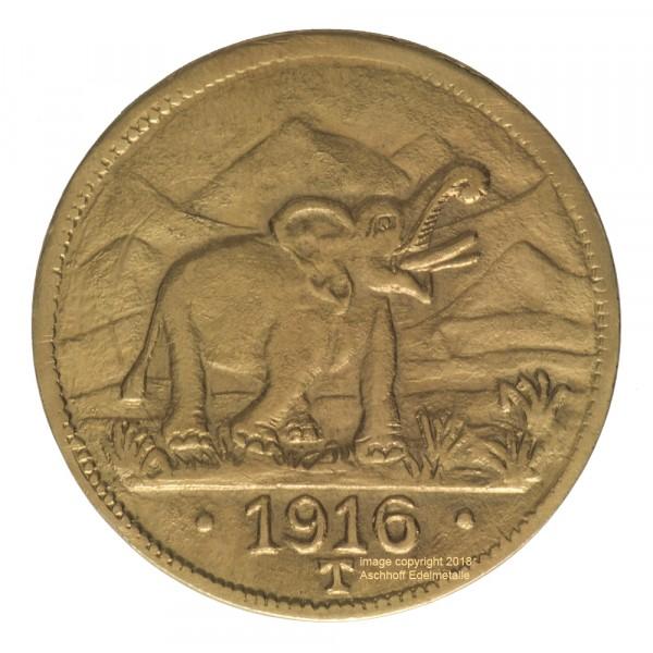 Deutsch Ostafrika 15 Rupien 1916 Elefant, Goldmünze 5,37g fein