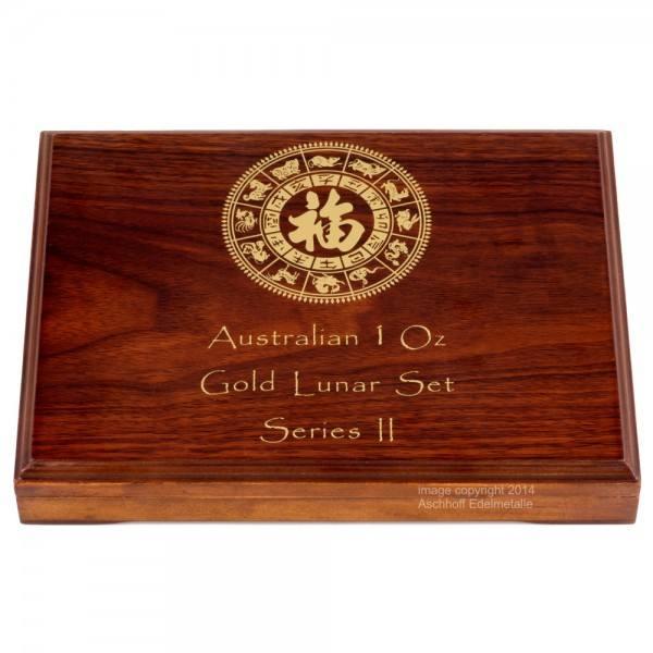 Münzbox für Lunar II Serie 12 x 1 Unze (oz) Goldmünzen