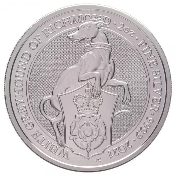 The Queens Beasts White Greyhound of Richmond 2021, Silbermünze 2 Unzen (oz)