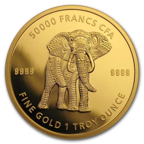 Tschad 2019 Mandala Elefant , Goldmünze 1 Unze (oz)
