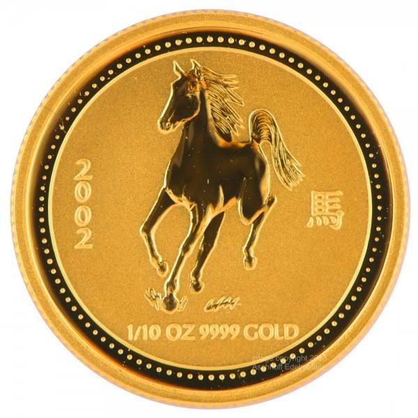 Ankauf: Lunar I 2002 Pferd, Goldmünze 1/10 Unze (oz)