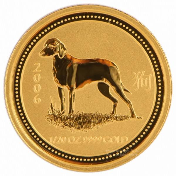 Ankauf: Lunar I 2006 Hund, Goldmünze 1/20 Unze (oz)