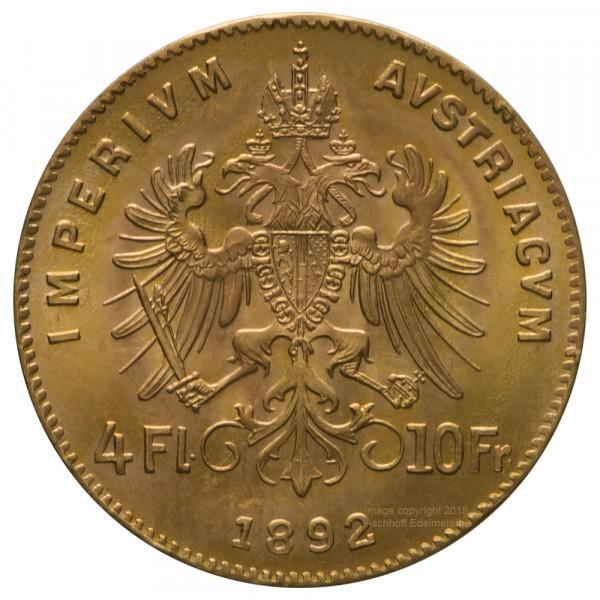 Ankauf: Österreich 4 Florin, Goldmünze 2,9g fein, diverse Jahrgänge