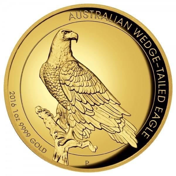 Australian Wedge-Tailed Eagle 2016, Goldmünze 1 Unze (oz), High Relief PP
