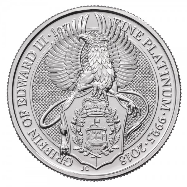 The Queens Beasts The Griffin of Edward III. 2018, Platinmünze 1 Unze (oz)