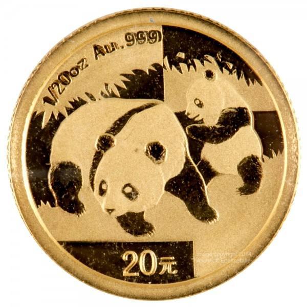 China Panda 2008, Goldmünze 1/20 Unze (oz) Original-Folie