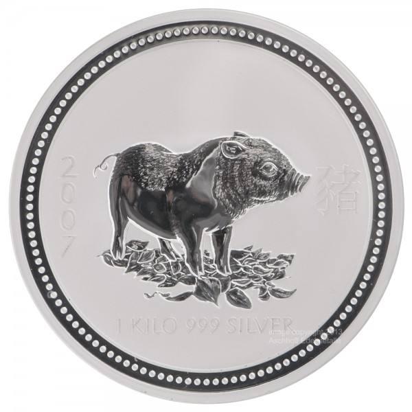Ankauf: Lunar I 2007 Schwein, Silbermünze 1 kg