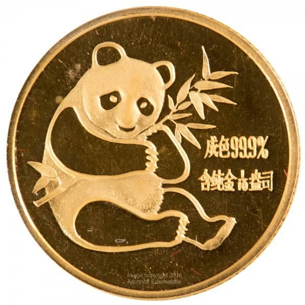 China Panda 1982, Goldmünze 1/10 Unze (oz) Original-Folie