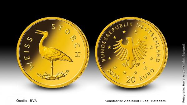 "Goldeuro 2020 Heimische Vögel (Weißstorch) ""D"" Goldmünze 1/8 Unze (oz)"
