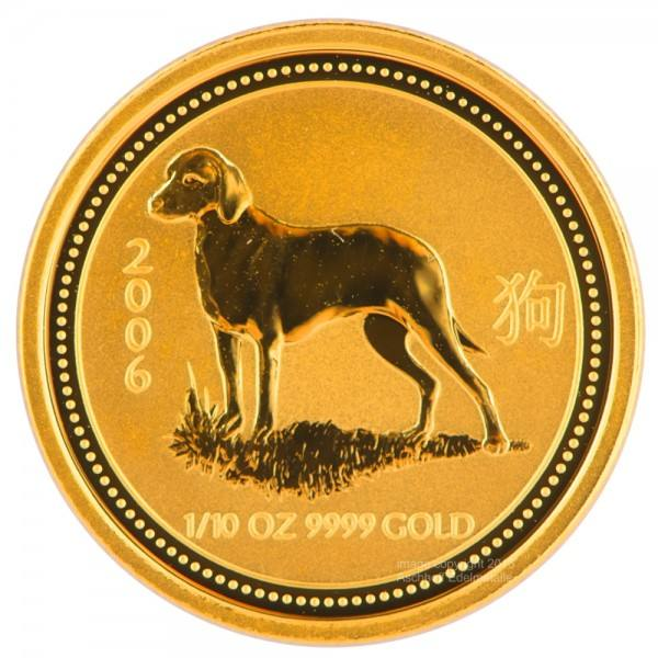 Ankauf: Lunar I 2006 Hund, Goldmünze 1/10 Unze (oz)