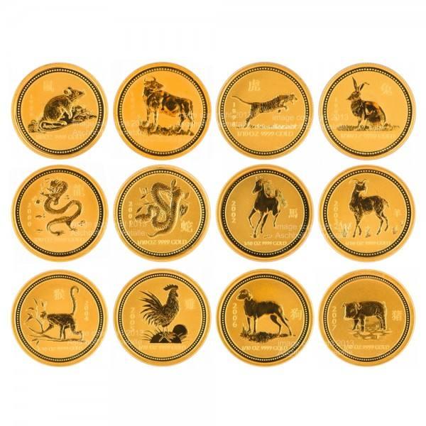 Lunar I Goldmünzen 12 x 1/10 Unze (oz) Komplett-Set