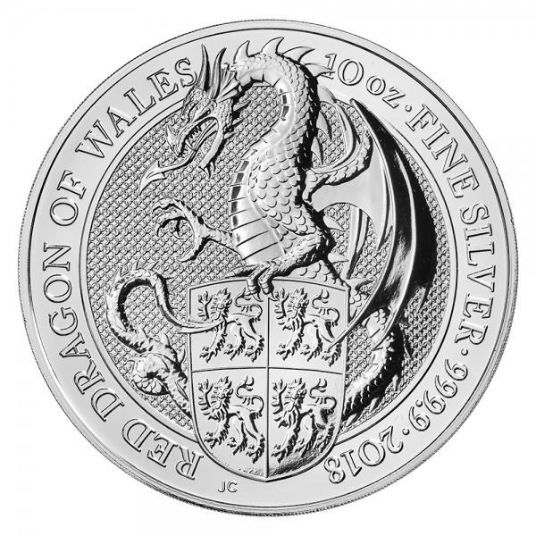 Ankauf: The Queens Beasts Red Dragon of Wales 2018, Silbermünze 10 Unzen (oz)