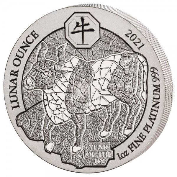 Ankauf: Ruanda Lunar 2021 Ochse, Platinmünze 1 Unze (oz)