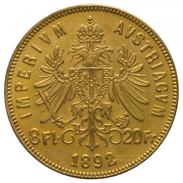 Ankauf: Österreich 8 Florin, Goldmünze 5,81g fein, diverse Jahrgänge