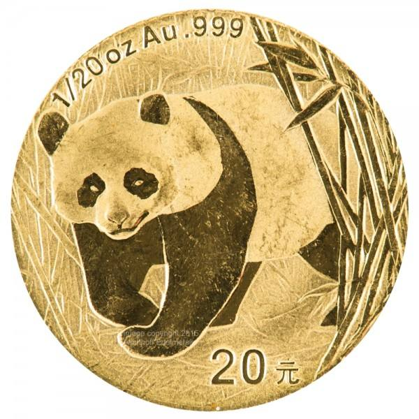 Ankauf: China Panda 2002, Goldmünze 1/20 Unze (oz)