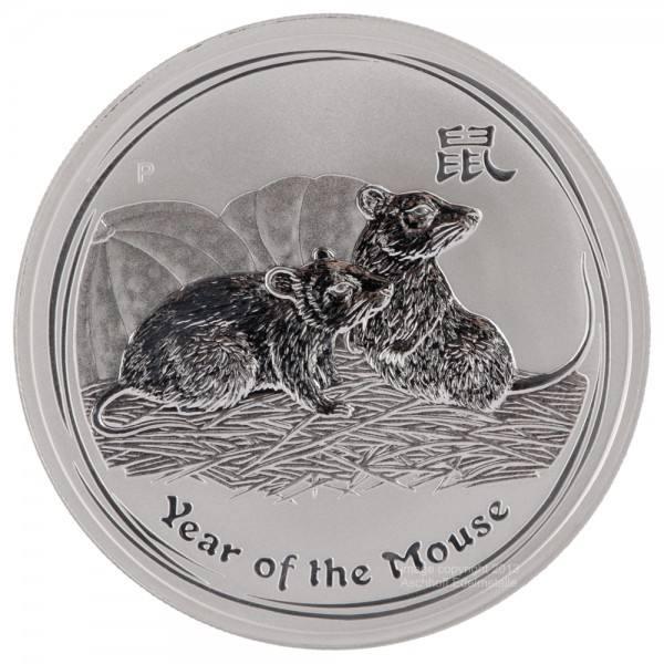 Ankauf: Lunar II 2008 Maus, Silbermünze 1/2 Unze (oz)
