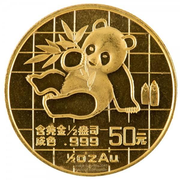 China Panda 1989, Goldmünze 1/2 Unze (oz) Original-Folie
