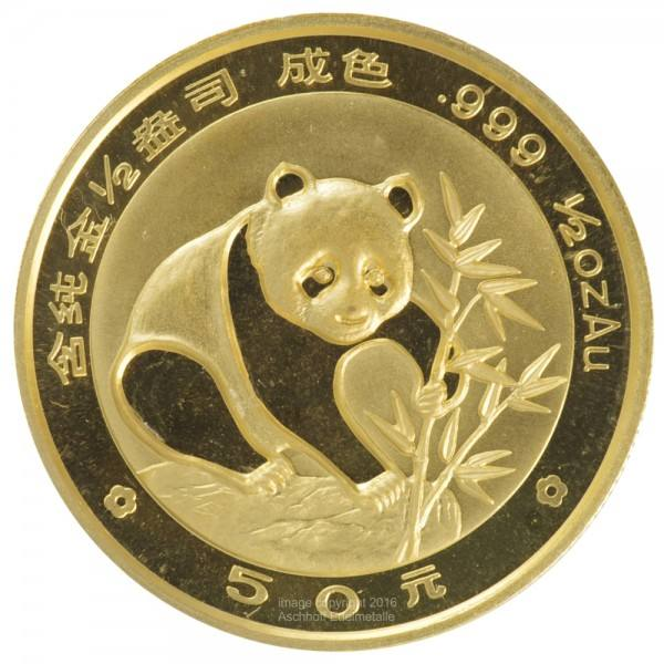 China Panda 1988, Goldmünze 1/2 Unze (oz) Original-Folie