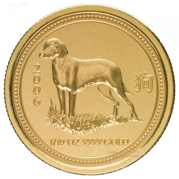 Lunar I 2006 Hund, Goldmünze 1/10 Unze (oz)