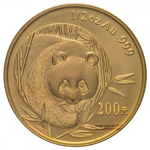China Panda 2003, Goldmünze 1/2 Unze (oz) Original-Folie mit Kontrollzettel