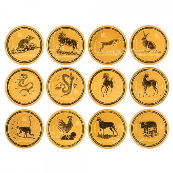 Ankauf: Lunar I Goldmünzen 12 x 1/4 Unze (oz) Komplett-Set