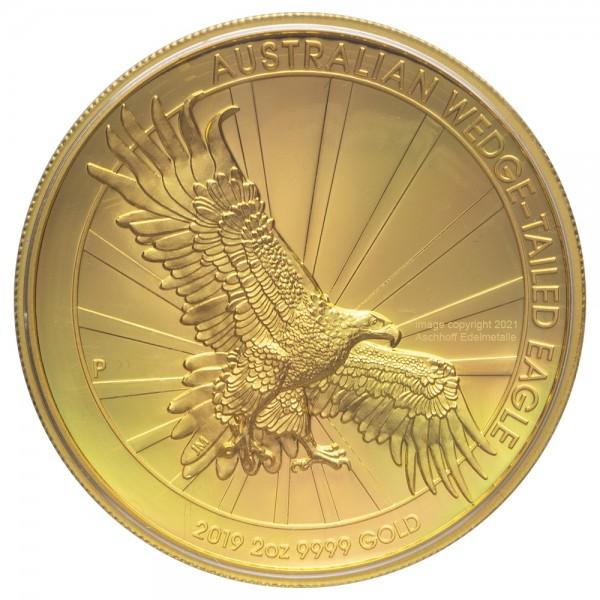 Australian Wedge Tailed Eagle 2019, Goldmünze 2 Unzen (oz) High Relief, PP