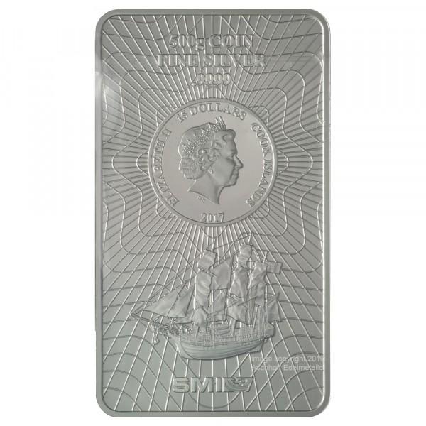Cook Islands Münzbarren, Silber 500g, Neuware mit Zertifikat