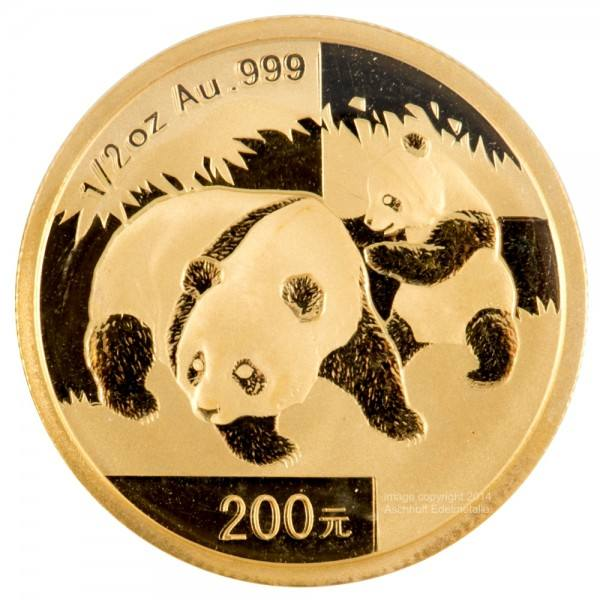 China Panda 2008, Goldmünze 1/2 Unze (oz) Original-Folie