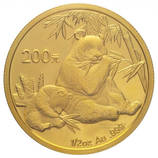 China Panda 2007, Goldmünze 1/2 Unze (oz) Original-Folie