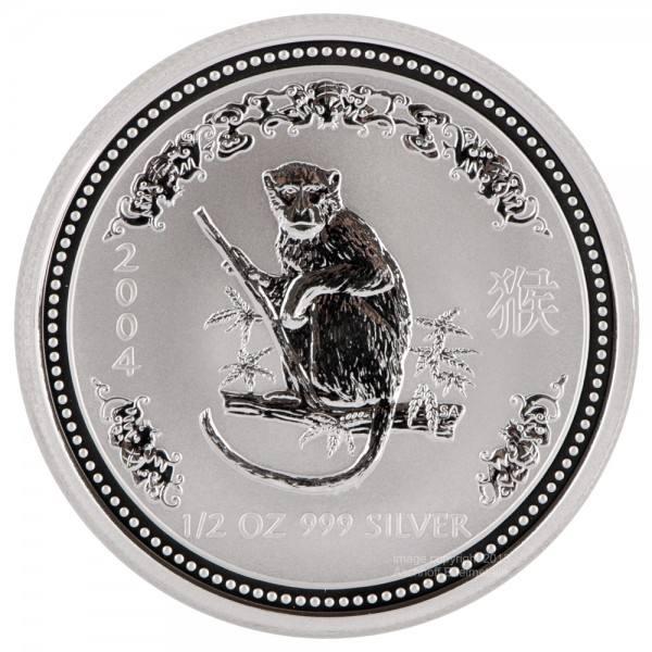 Ankauf: Lunar I 2004 Affe, Silbermünze 1/2 Unze (oz)