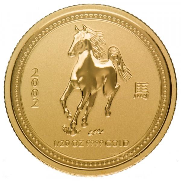 Lunar I 2002 Pferd, Goldmünze 1/20 Unze (oz)