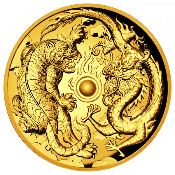Ankauf: Dragon & Tiger 2018, Goldmünze 2 Unzen (oz) High Relief PP